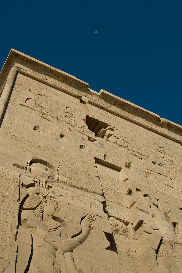 Temple and Moon - Philae Temple, Aswan, Egypt