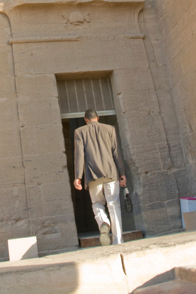 Cop with Uzi - Philae Temple, Aswan, Egypt