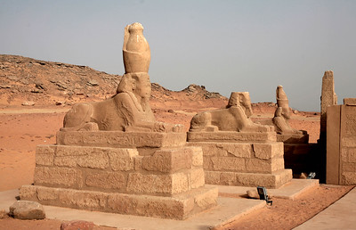 In the court past the first (now non-existent) pylon are six human-headed sphinxes wearing the double crown of upper and lower Egypt.