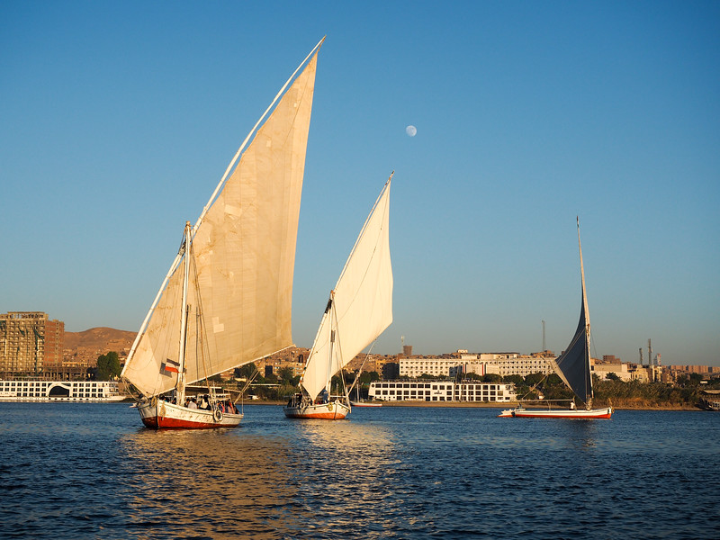 Feluccas on the Nile River in Aswan, Egypt