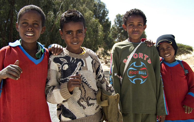 Kids, between Asmara and Keren.  I picked up loads of hitchhikers on the way, including these kids.