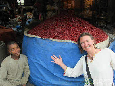Audrey and a Huge Bag of Chili Peppers - Addis Ababa, Ethiopia