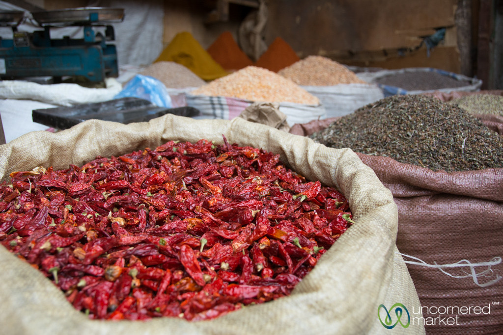 Chili Peppers and Herbs at the Merkato in Addis Ababa, Ethiopia