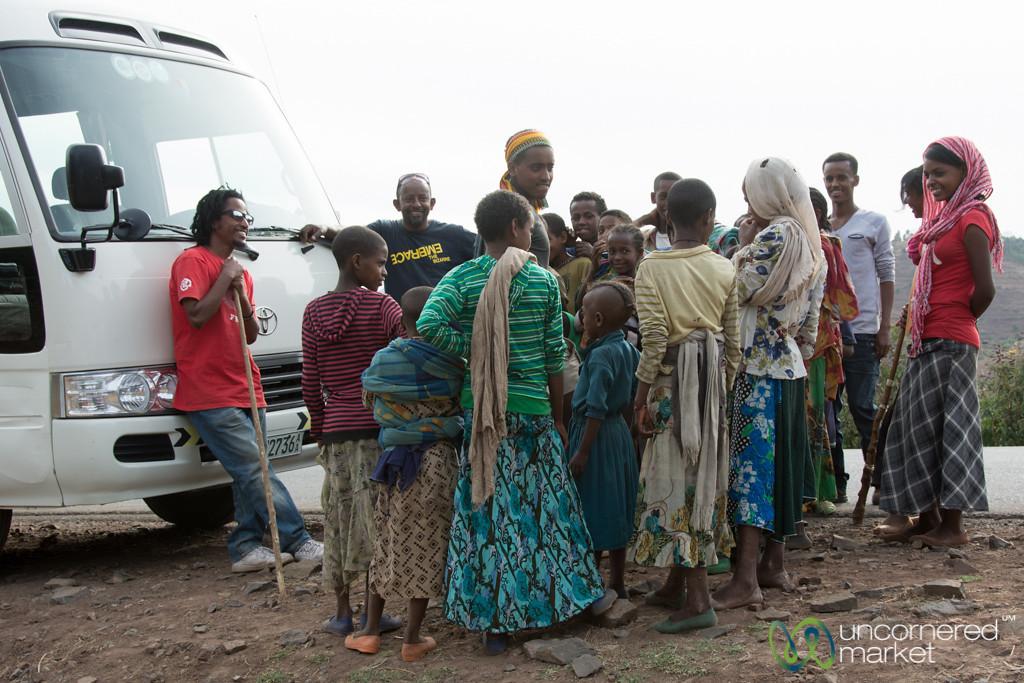 Kids Gather Around our G Adventures Bus - Ethiopia