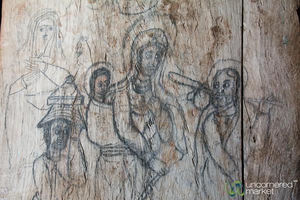 Sketches on the Door of Ura Kidane Mehret Monastery - Bahir Dar, Ethiopia