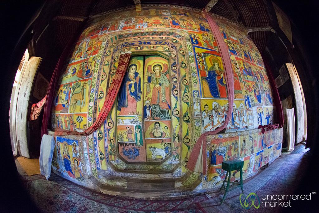 Fisheye View Inside Ura Kidane Mehret Monastery - Bahir Dar, Ethiopia