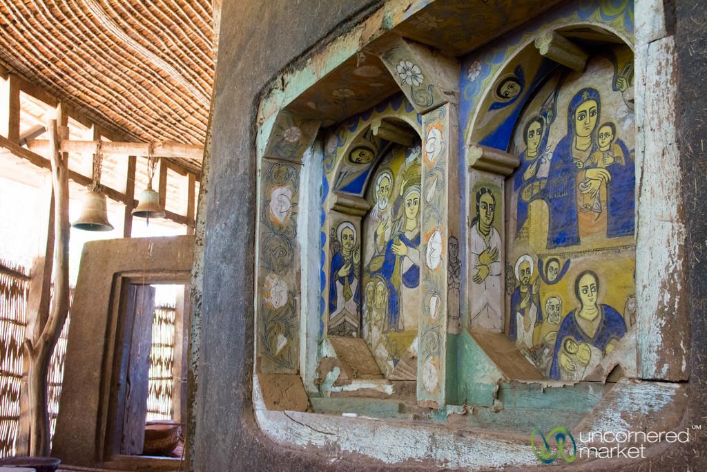 Paintings and Bells at Ura Kidane Mehret Monastery - Bahir Dar, Ethiopia