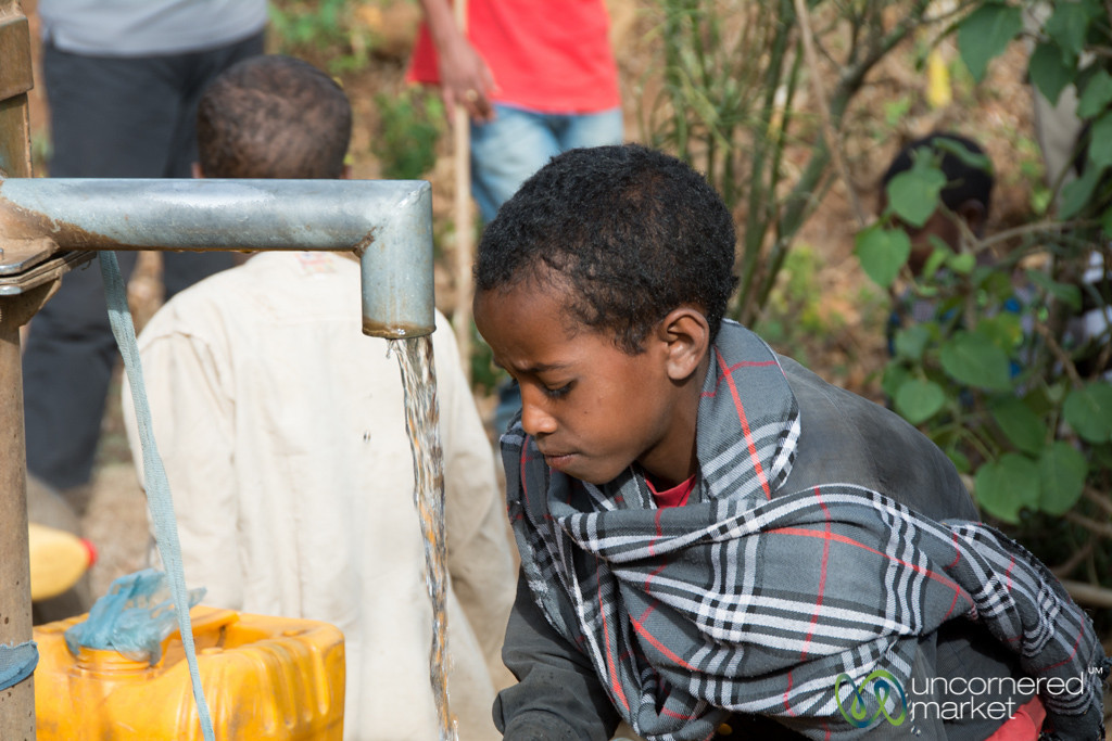 Collecting Water at the Pump - Bahir Dar to Gondar, Ethiopia