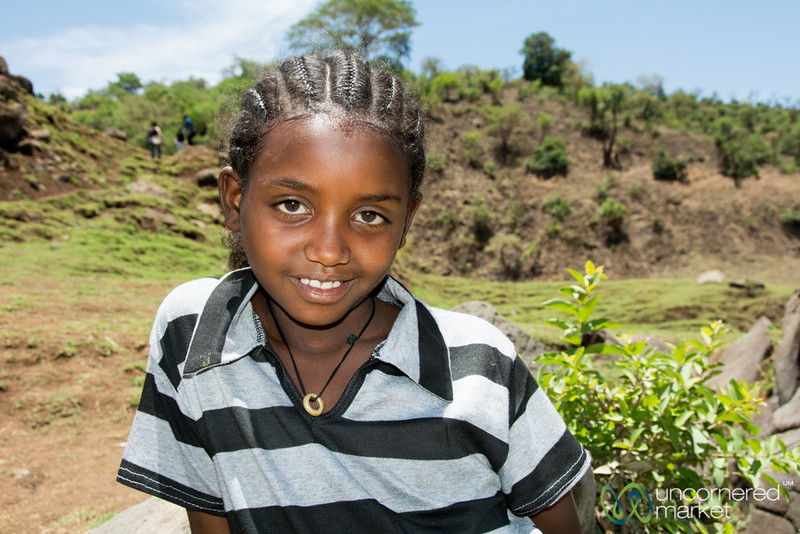 Ethiopian Girl Visiting the Blue Nile Waterfall - Bahir Dar, Ethiopia