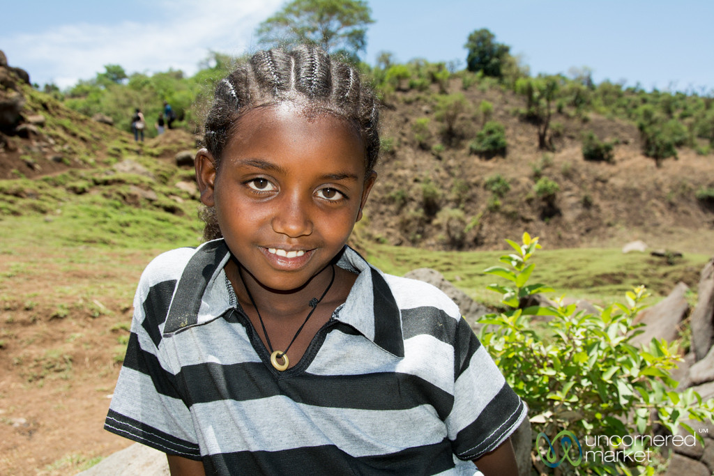Ethiopian Girl Visiting the Blue Nile Waterfall - Bahir Dar, Ethiopia