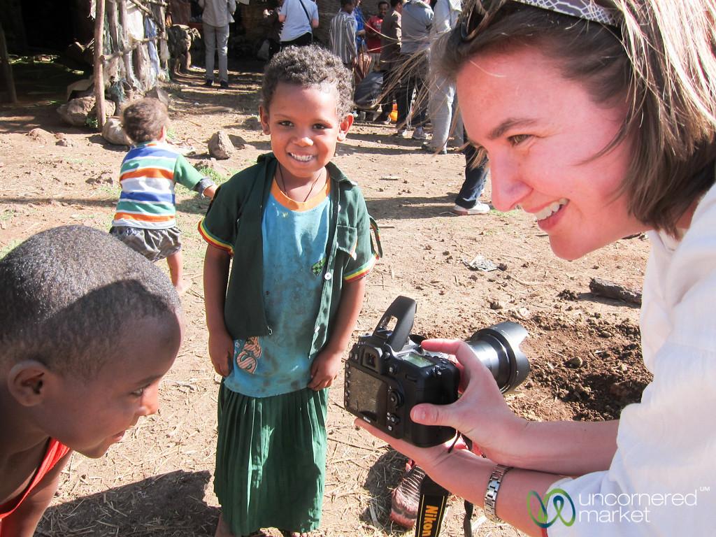 Audrey Shows Kids Their Picture - Bahir Dar, Ethiopia