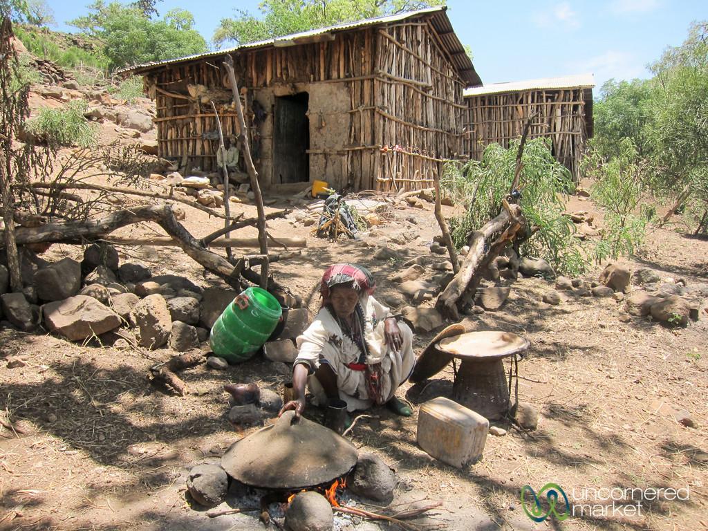 Preparing Injera in an Ethiopian Village near Bahir Dar, Ethiopia