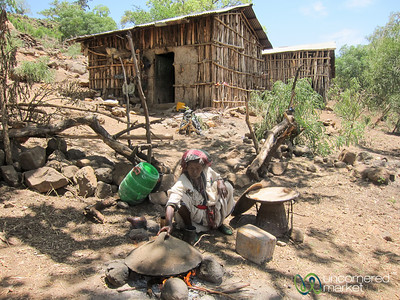 Preparing Injera in an Ethiopian Village near Bahir Dar, Ethiopia