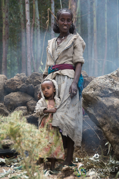 Ethiopian Mother and Child in Village Near Lalibela, Ethiopia