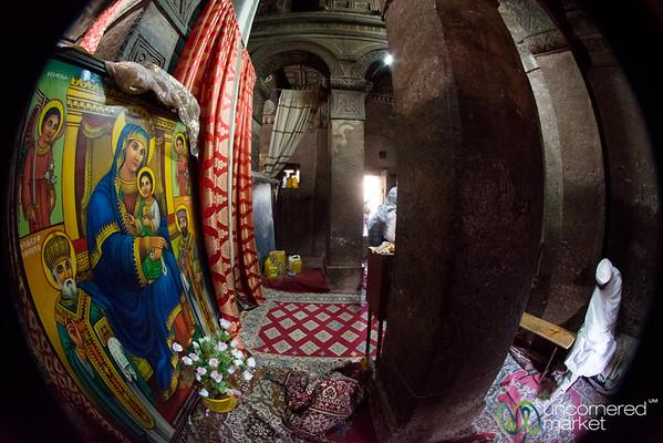 Fisheye View Inside Bet Maryam - Lalibela, Ethiopia
