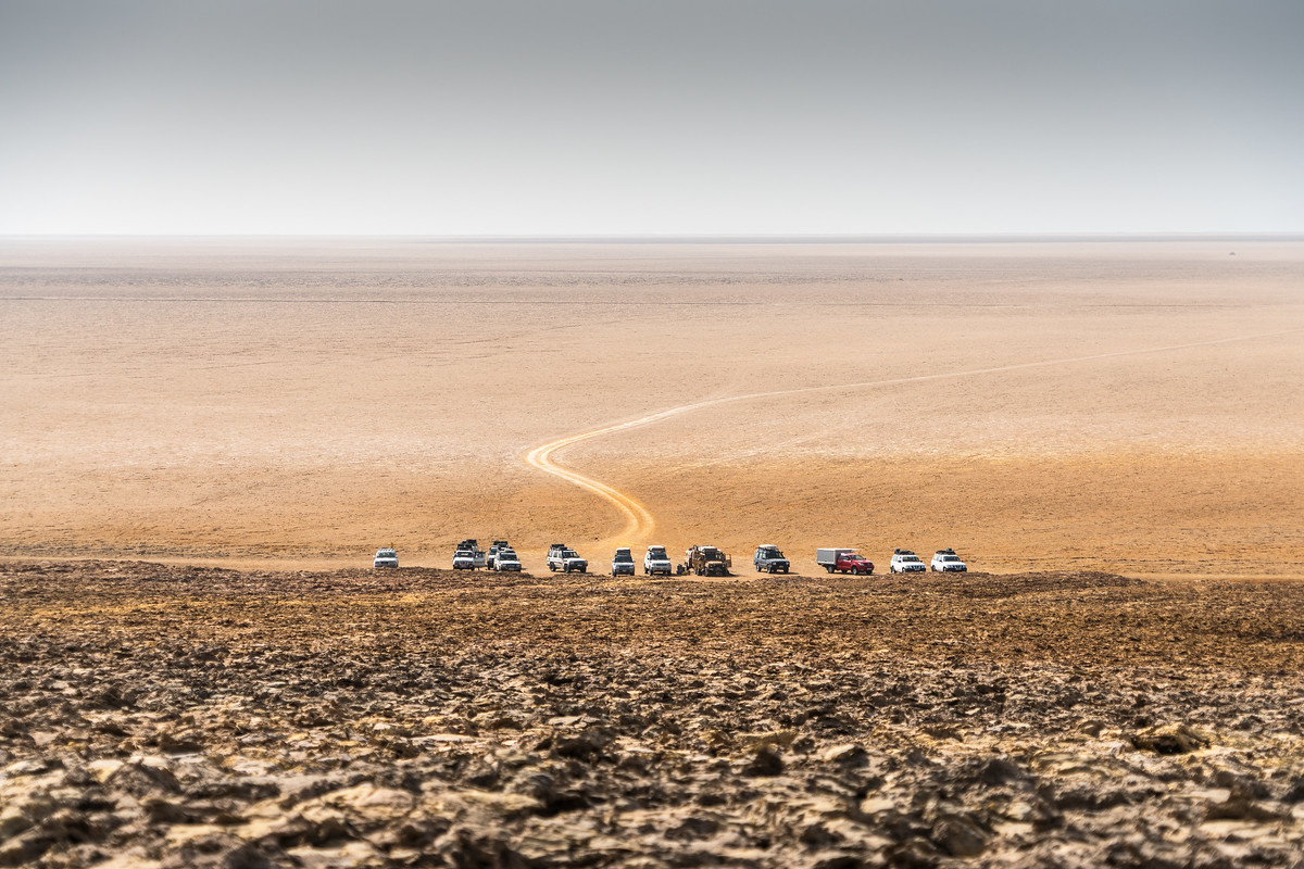Cars parked at the Dallol volcano