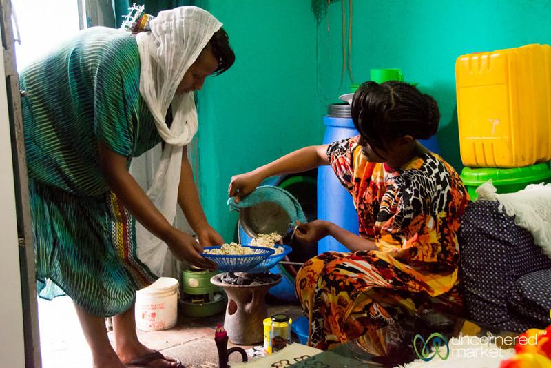 Ethiopian Coffee Ceremony, Making Popcorn - Gondar, Ethiopia