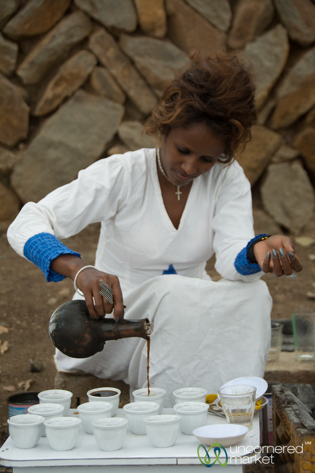 Ethiopian Coffee Ceremony, Pouring Coffee - Aksum, Ethiopia