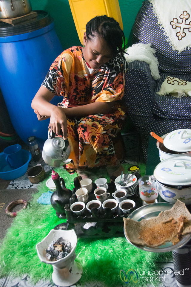 Ethiopian Coffee Ceremony, Pouring Coffee - Gondar, Ethiopia