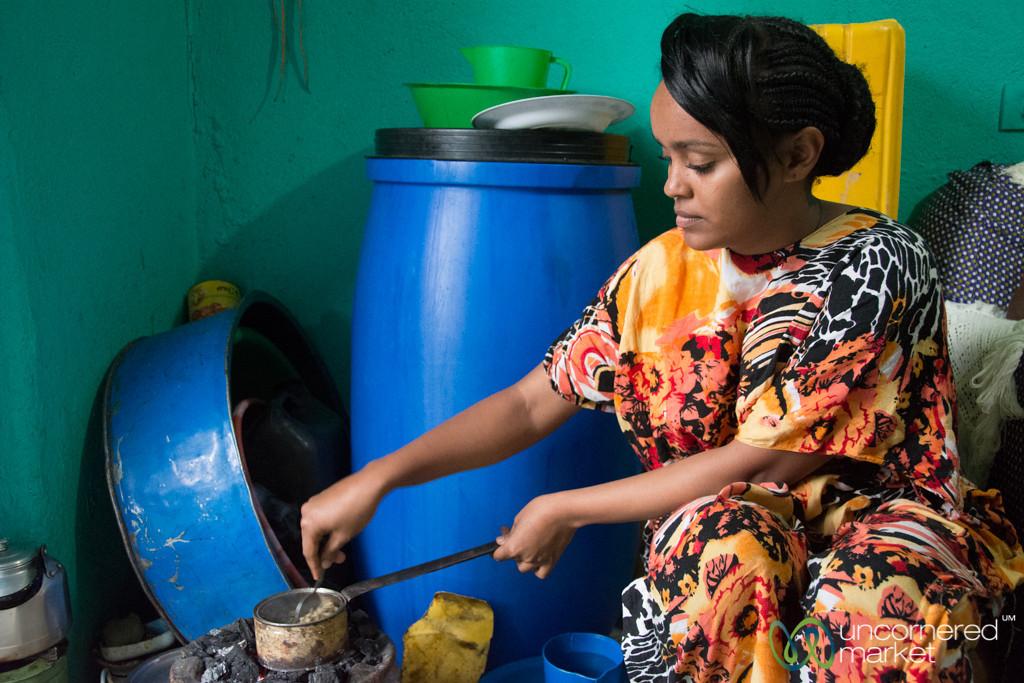 Ethiopian Coffee Ceremony, Roasting Coffee Beans - Gondar, Ethiopia
