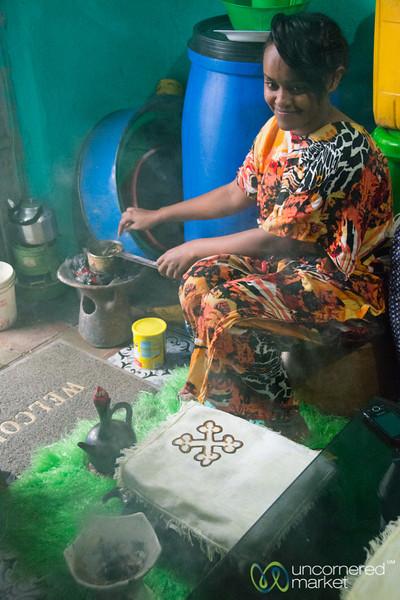 Ethiopian Coffee Ceremony, Roasting Coffee Beans & Frankincense - Gondar, Ethiopia