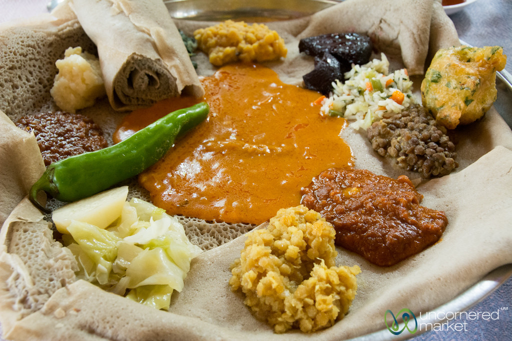 Ethiopian Fasting Platter (Yetsom Beyaynetu) - Gondar, Ethiopia