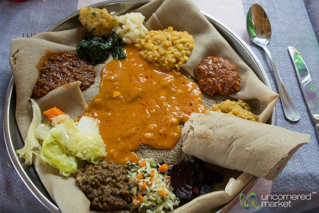 Yetsom Beyaynetu (Vegetarian Platter) at Four Sisters Restaurant in Gondar, Ethiopia