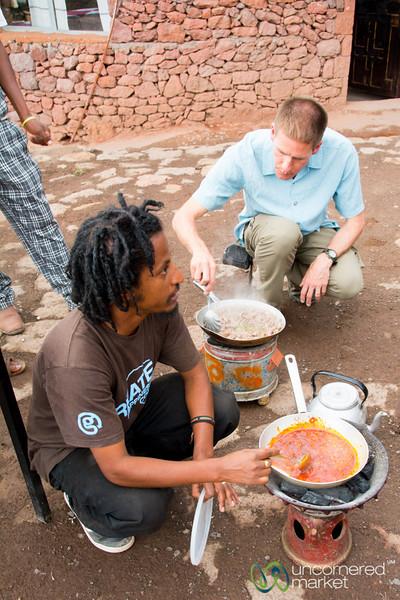 Learning to Cook Ethiopian Food at Lalibela Lodge in Lalibela, Ethiopia