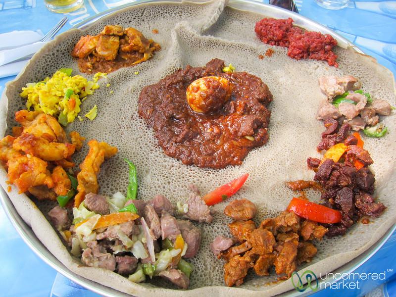 Maheberawi (Meat Mixed Plate) - Ethiopian Food at Lake Shore Restaurant in Bahir Dar