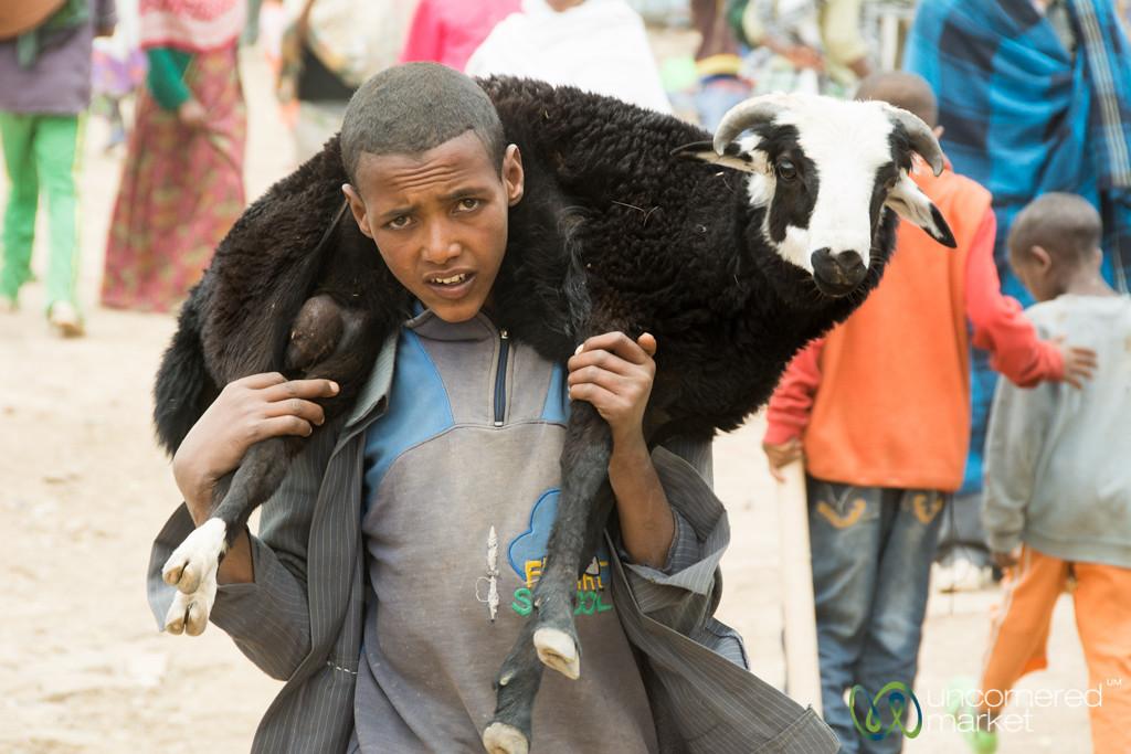 Ethiopian Boy with a Goat Around His Neck - Debark Market, Ethiopia