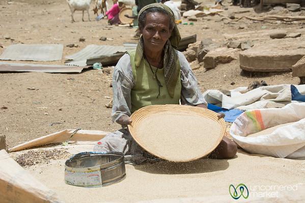 Sifting Tef at the Debark Market - Ethiopia