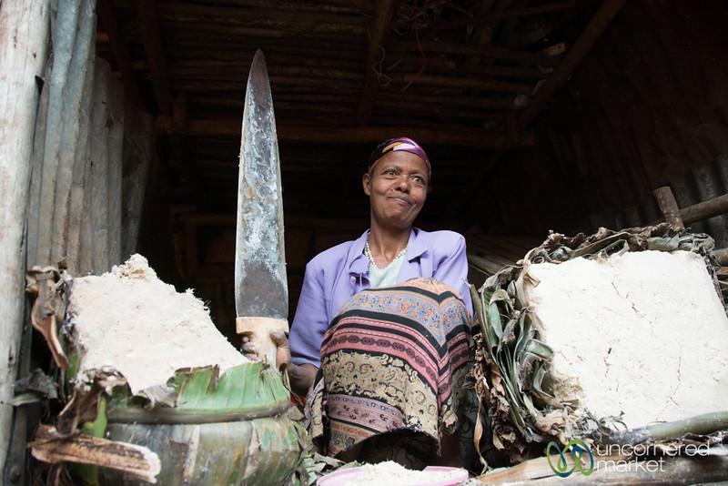 Selling Enset (Southern Ethiopian Food) at the Merkato, Ethiopia