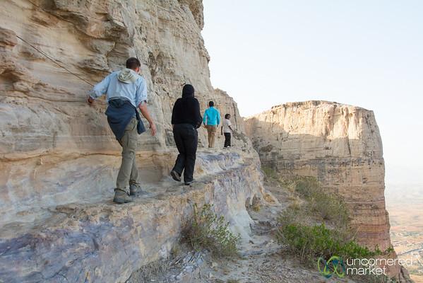 Walking Along the Cliff at Daniel Korkor Cave Church - Gheralta Mountains, Ethiopia