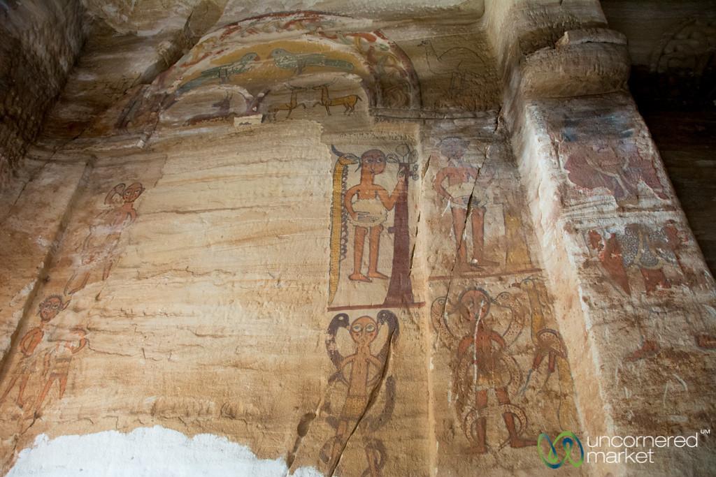 Old Ethiopian Church Paintings of Adam and Eve in Maryam Korkor - Tigray, Ethiopia