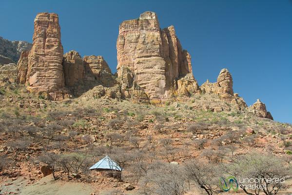 Red Rocks around Abuna Yemata Guh Church in Gheralta Mountains of Tigray, Ethiopia