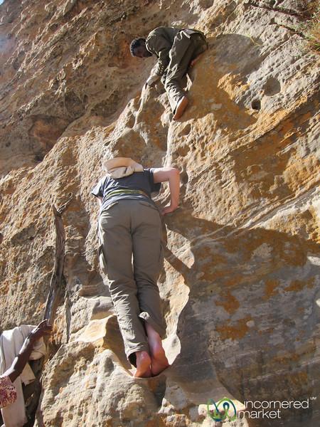 Climbing up to Abuna Yemata Guh Church in Gheralta Mountains - Tigray, Ethiopia