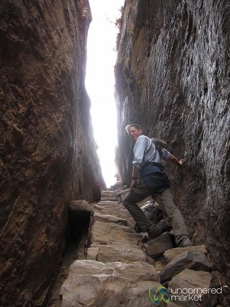 Dan Walking Through the Rocks to Maryam Korkor - Gheralta Mountains of Tigray, Ethiopia