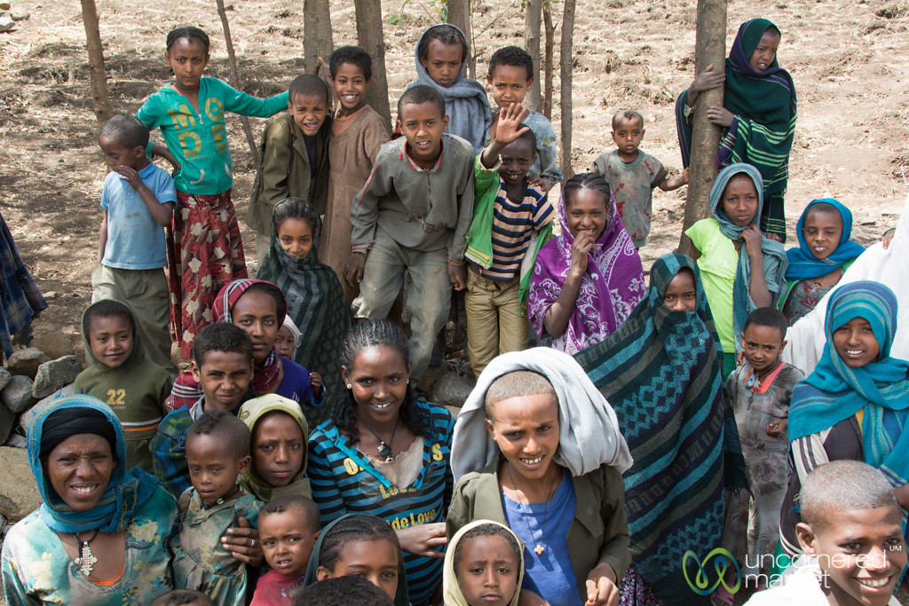 Surrounded by Kids at a Road Stop in Ethiopia