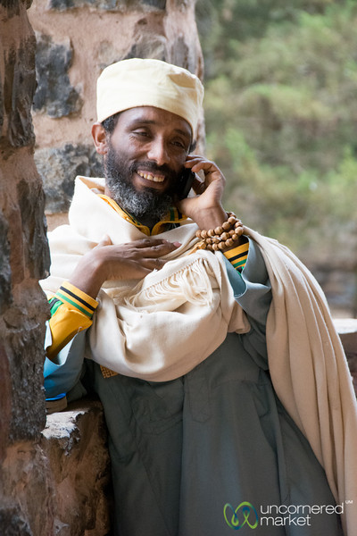 Ethiopian Priest on Mobile Phone - Gondar, Ethiopia