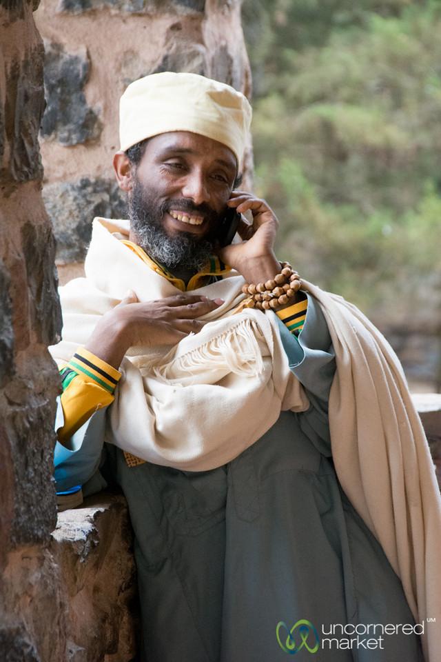 Ethiopian Priest on Mobile Phone - Gondar, Ethiopia