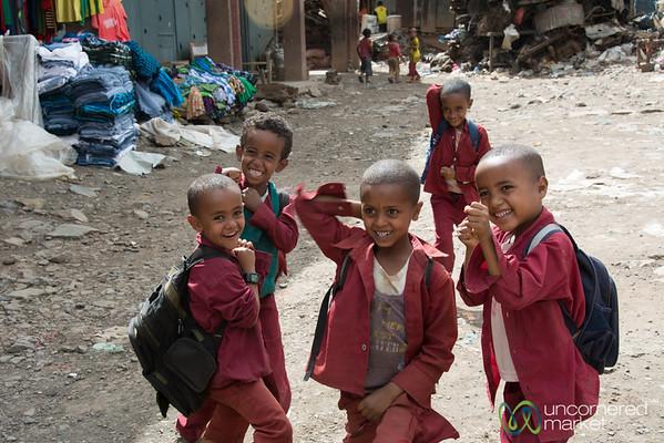 Ethiopian School Kids Goofing Around - Gondar Market, Ethiopia