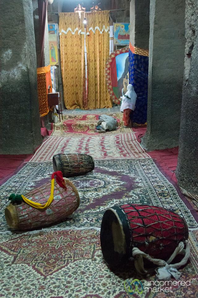 Ethiopian Drums Inside Biete Medhane Alem Church - Lalibela, Ethiopia