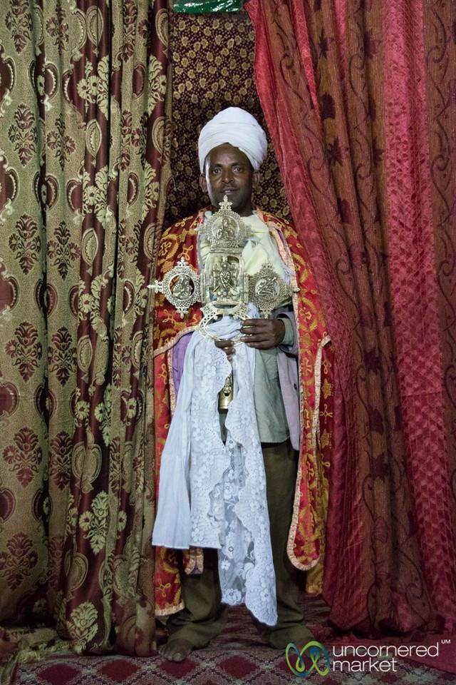 Ethiopian Orthodox Priest at Yemrehana Kristos Church - Lalibela, Ethiopia