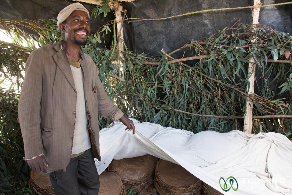 Ethiopian Wedding Preparation, Stacks of Injera (flatbread) - Lalibela, Ethiopia
