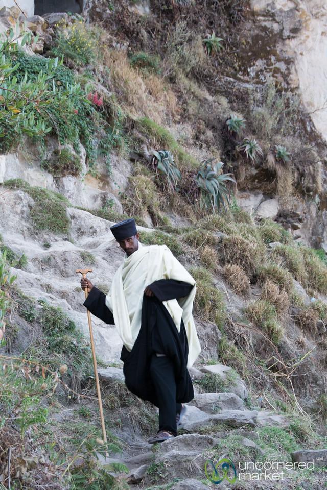 Ethiopian Priest Walking Down From Ashetan Maryam Church - Lalibela, Ethiopia