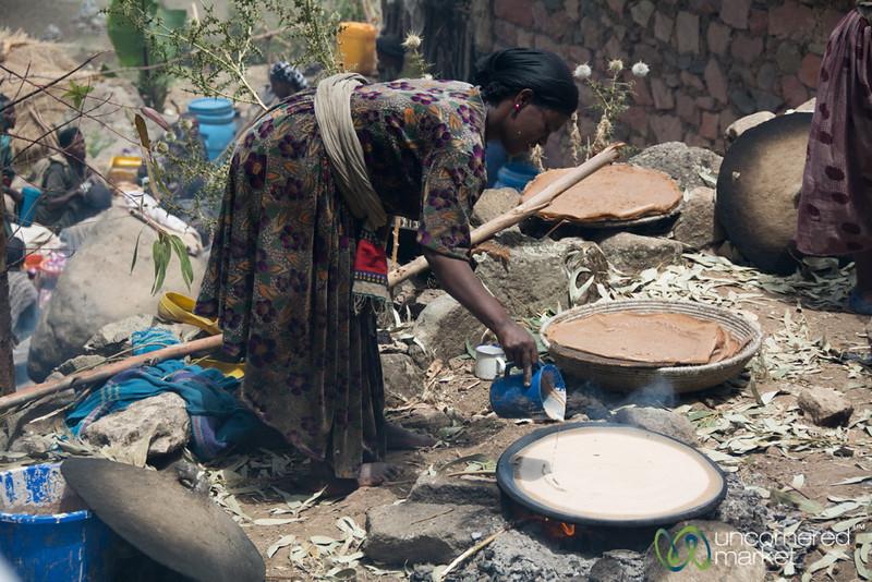 Making Injera (Ethiopian Flatbread) in Village near Lalibela, Ethiopia