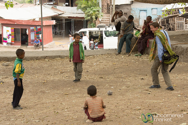 Audrey Plays Soccer (football) with Kids in Lalibela, Ethiopia