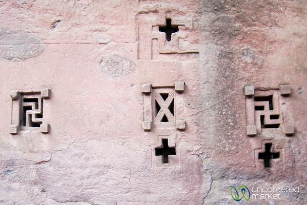 Different Crosses as Windows on a Lalibela Rock Hewn Church - Lalibela, Ethiopia