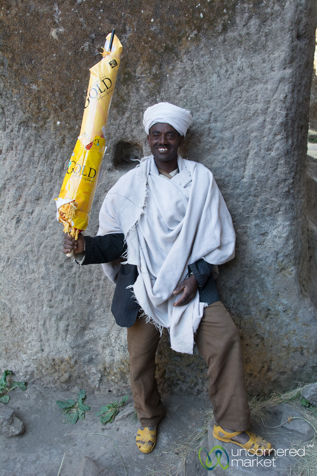 Ethiopian Orthodox Priest with Umbrella - Lalibela, Ethiopia