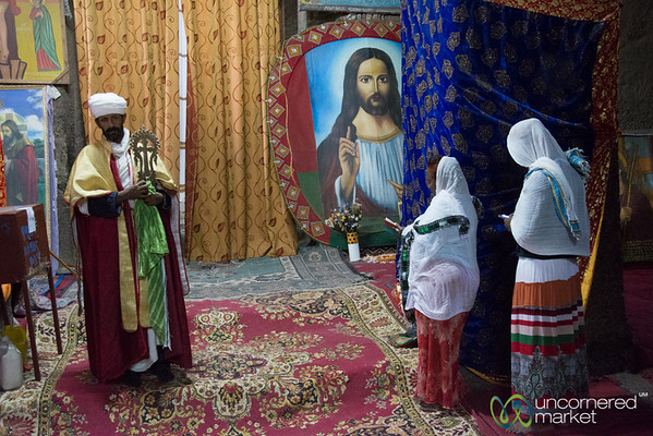 Biete Medhane Alem (House of the Saviour of the World). Waiting for a Blessing - Lalibela, Ethiopia
